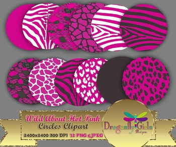 WILD About Hot Pink Circles commercial use,vector graphics,digital clip art