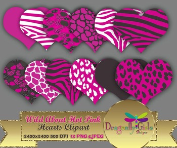 WILD About Hot Pink Hearts commercial use,vector graphics,digital clip art