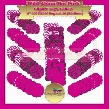 WILD About Hot Pink clipart commercial use, vector graphic