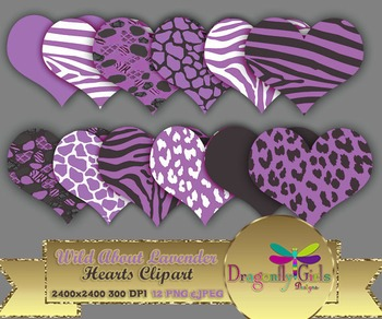 WILD About Lavender Hearts commercial use,vector graphics,digital clip art