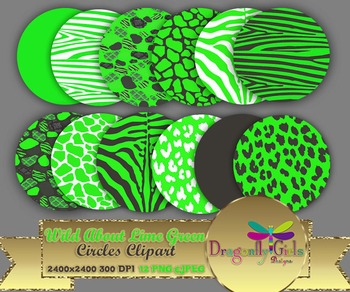 WILD About Lime Green Circles commercial use,vector graphi