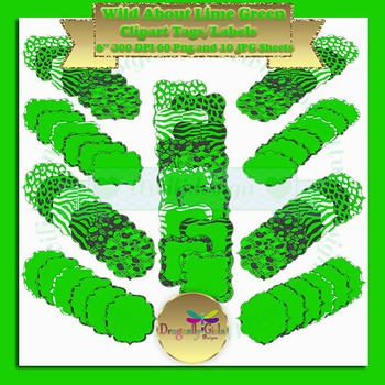 WILD About Lime Green clipart commercial use, vector graph