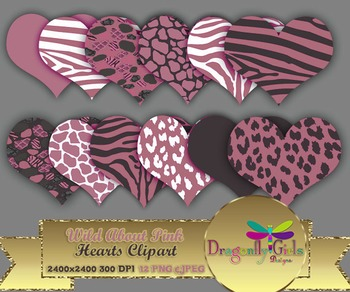 WILD About Pink Hearts clipart commercial use,vector graphics,digital clip art