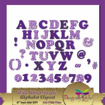 WILD About Purple Alphabet commercial use,vector graphics,digital clip art