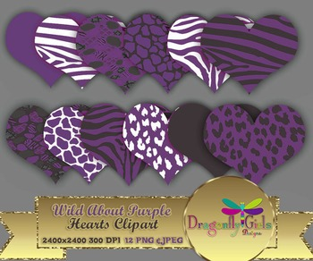 WILD About Purple Hearts clipart commercial use,vector graphics,digital clip art