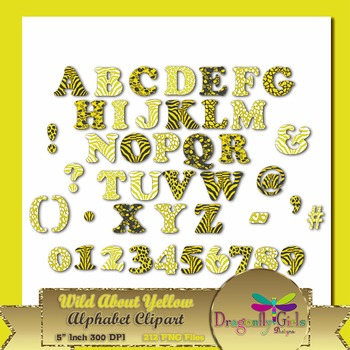 WILD About Sunny Yellow Alphabet commercial use,vector graphics,digital clip art