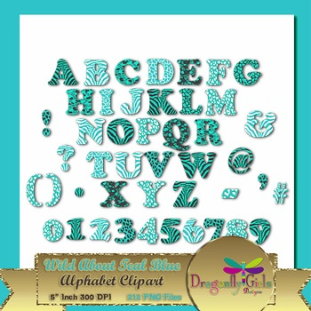 WILD About Teal Blue Alphabet commercial use,vector graphics,digital clip art