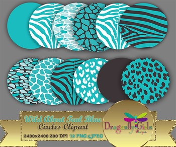 WILD About Teal Blue Circles commercial use,vector graphics,digital clip art