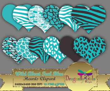 WILD About Teal Blue Hearts commercial use,vector graphics,digital clip art