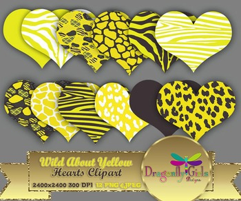 WILD About Yellow Hearts clipart commercial use,vector graphics,digital clip art