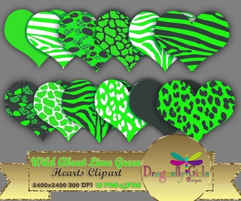 WILD About Lime Green Hearts commercial use,vector graphics,digital clip art