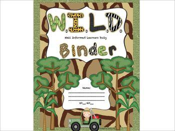 W.I.L.D. Binder Cover sheet Jungle Safari Rainforest theme