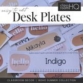 BOHO SUMMER Editable Desk Plates