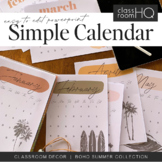 BOHO SUMMER Simple Monthly Calendar