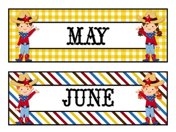 WILD WEST MONTHLY CALENDAR LABELS (GINGHAM &STRIPES)