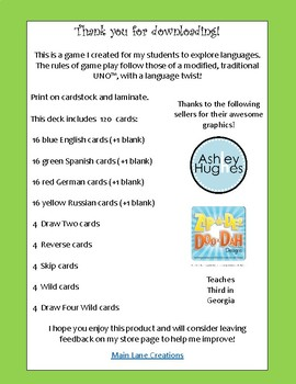 WILD about Languages Game