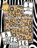 WILD animal print number cards 0-20