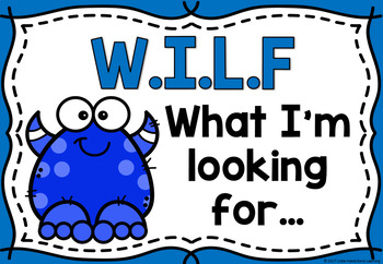 WILF (What I'm looking for) Success Criteria Posters - Monsters