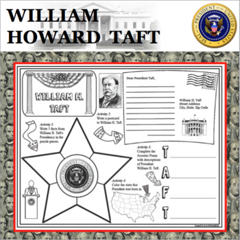 WILLIAM H. TAFT POSTER U.S. President Research Project Biography