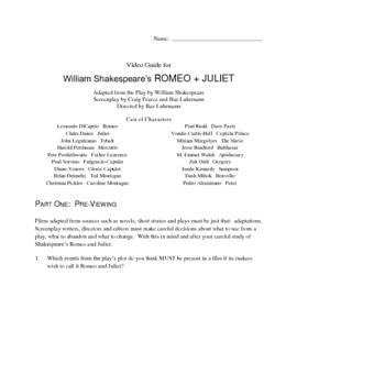 WILLIAM SHAKESPEARE'S ROMEO + JULIET Video Guide