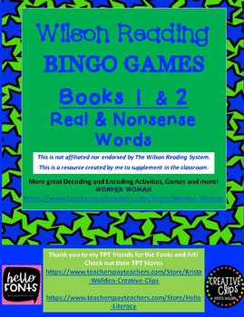 WILSON BINGO GAMES Books 1 and 2 Real and Nonsense Words