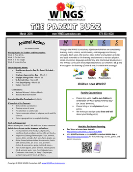 """WINGS Curriculum Parent Newsletter (March  - """"Animal Action"""" Theme)"""