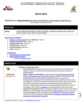 """WINGS Curriculum Pre-K Lesson Plans (March - """"Animal Action"""" Theme)"""
