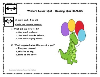 WINNERS NEVER QUIT BY MIA HAMM - SPELLING, WRITING SHEETS, READING QUIZ