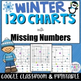 WINTER 120 CHARTS WITH MISSING NUMBERS DIFFERENTIATED | Google Slides and Print