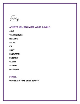 WINTER: A WORD JUMBLE: A FUN CHALLENGE!
