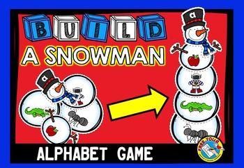 WINTER LITERACY ACTIVITIES: BUILD A SNOWMAN: ALPHABET BEGINNING SOUND GAME