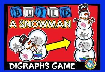 WINTER ACTIVITIES: BUILD A SNOWMAN CENTER: DIGRAPHS GAME