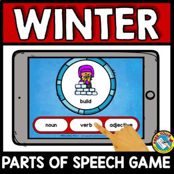 WINTER ACTIVITIES FIRST GRADE (DECEMBER PARTS OF SPEECH TASK CARDS) BOOM CARDS