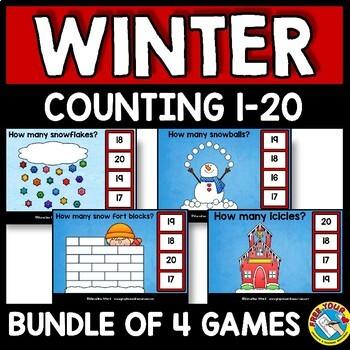WINTER MATH KINDERGARTEN COUNTING ACTIVITY BOOM CARD BUNDLE (NUMBERS 1-20 GAMES)