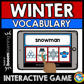 DECEMBER ACTIVITIES KINDERGARTEN (WINTER VOCABULARY GAME) BOOM CARDS ELA