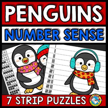 DECEMBER ACTIVITY KINDERGARTEN (WINTER NUMBER SENSE PUZZLES) PENGUIN MATH CENTER