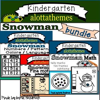 Winter Snowman Bundle Math Concepts Numbers Patterns Ten Frames