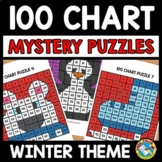 WINTER ACTIVITY KINDERGARTEN (100 CHART MYSTERY PICTURE PUZZLES)
