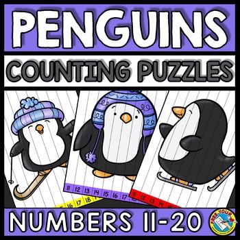NUMBER SEQUENCE WINTER ACTIVITY KINDERGARTEN (TEEN NUMBERS PENGUINS MATH)
