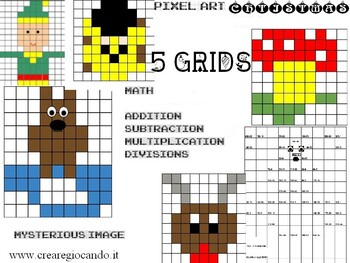 WINTER ADDITIONS, SUBTRACTION, multiplication, DIVISIONS 1 - 200. 5 SHEETS PIXEL