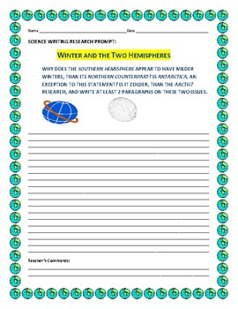 WINTER AND THE TWO HEMISPHERES: A SCIENCE RESEARCH PROMPT