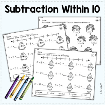 WINTER Addition & Subtraction Worksheets w/Number Lines (Add! Subtract! Color!)