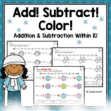 WINTER Addition & Subtraction Within 10 Worksheets With Number Lines