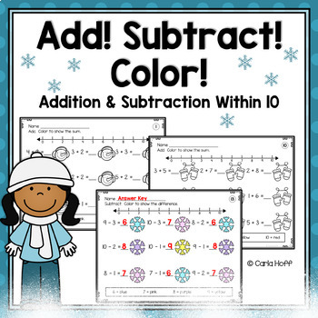 WINTER Add! Subtract! Color!  20 Printables for Addition &