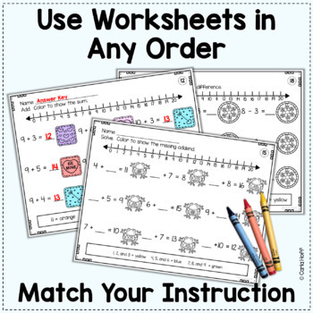 WINTER Addition & Subtraction Worksheets to 20 (Add! Subtract! Color!)