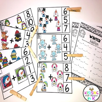WINTER Addition Picture Clip Cards- Sums to 10