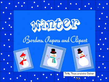 WINTER BORDERS, PAPERS, AND CLIPART