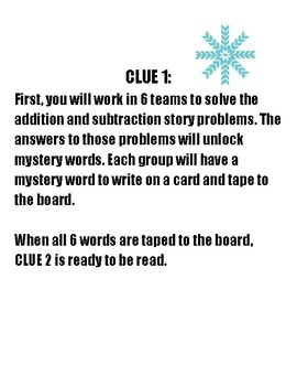WINTER BREAKOUT! with 2-3 Digit Addition/Subtraction Word Problems