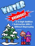 WINTER BREAKOUT! with 2-3 Digit Addition/Subtraction Word