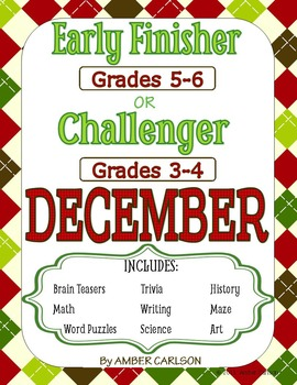 WINTER BUNDLE: Early Finisher or Challenger Grades 3-6